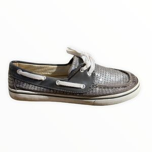 Dexter Silver Oxford Sequin Sneakers Lace Up 7.5